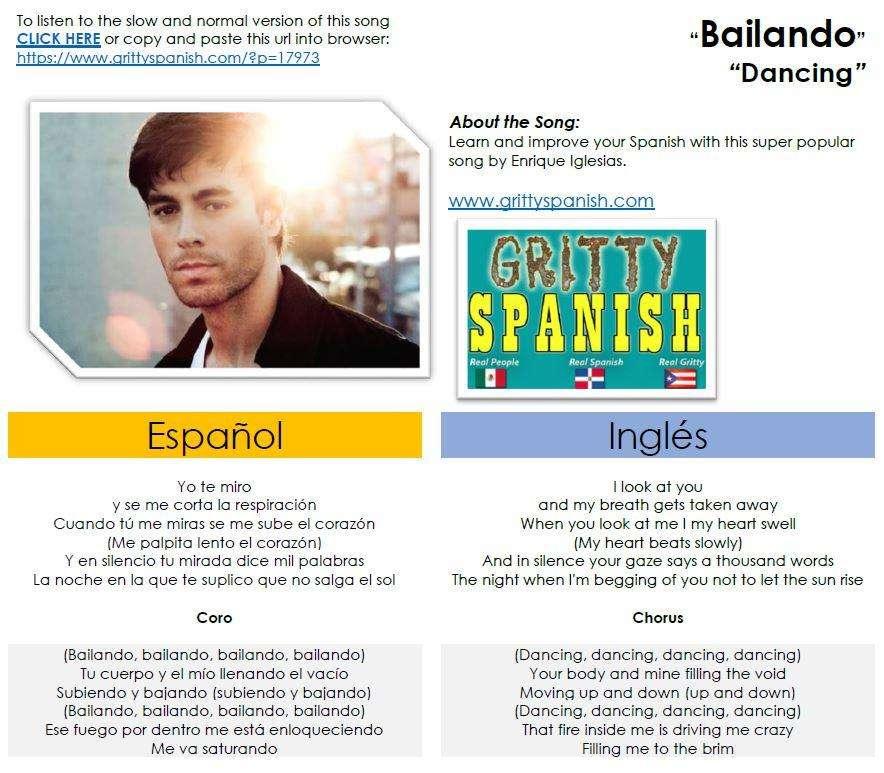 Bailando-Dancing by Enrique Iglesias - lyrics in Spanish and ...
