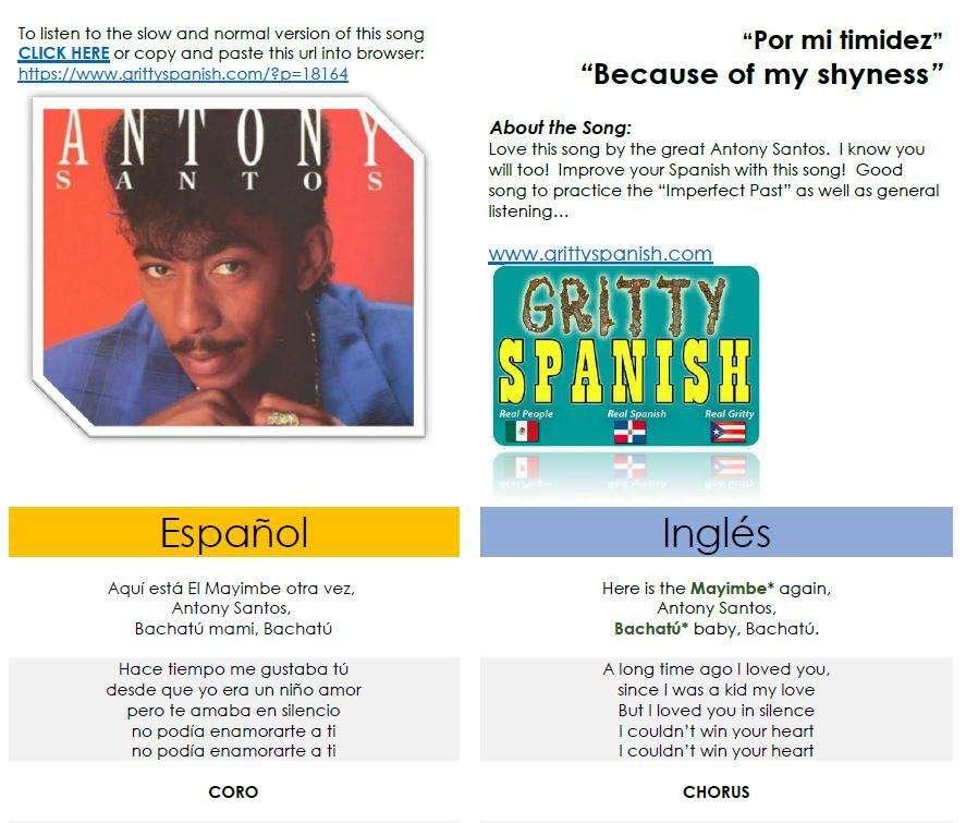 Antony Santos - Por mi timidez - Learn Spanish with lyrics in