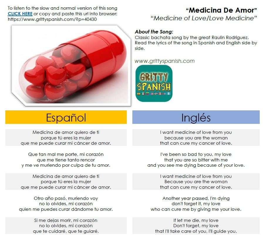 Raulin Rodriguez - Medicina de Amor lyrics in Spanish & English